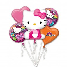 Hello Kitty Bouquet Rainbow Foil Balloons Pack of 5