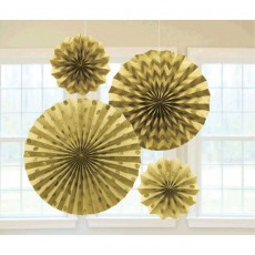 Gold Paper Fan Glitter Hanging Decorations