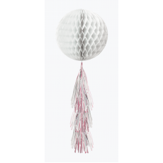 Iridescent Shimmering Party Honeycomb Ball with Tail Hanging Decoration 30cm & 40cm