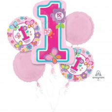 Girl's 1st Birthday Pink Bouquet Foil Balloons