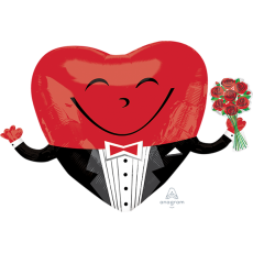 Emoji SuperShape Smiley Guy with Roses Shaped Balloon