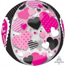 Love Metallic Green Multi-Film Black & Pink Hearts Shaped Balloon