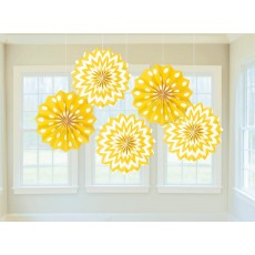 Sunshine Yellow Dots & Stripes Printed Paper Fan Hanging Decorations 20.3cm Pack of 5