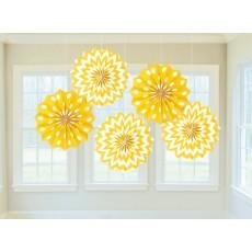 Yellow Sunshine Yello Paper Fans Hanging Decorations