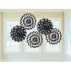 Dots & Stripes Jet Black & White Printed Paper Fan Hanging Decorations