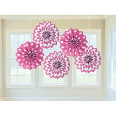 Bright Pink & White Dots & Stripes Printed Paper Fan Hanging Decorations 20.3cm Pack of 5