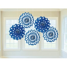 Dots & Stripes Bright Royal Blue & White Printed Paper Fan Hanging Decorations
