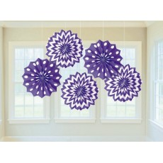 New Purple & White Dots & Stripes Printed Paper Fan Hanging Decorations 20.3cm Pack of 5