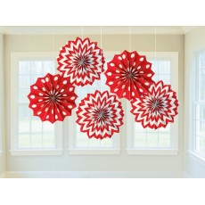Apple Red & White Dots & Stripes Printed Paper Fan Hanging Decorations 20.3cm Pack of 5