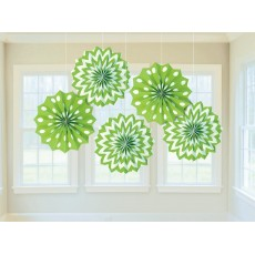 Dots & Stripes Kiwi Green & White Printed Paper Fan Hanging Decorations