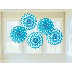 Caribbean Blue & White Dots & Stripes Printed Paper Fan Hanging Decorations 20.3cm Pack of 5