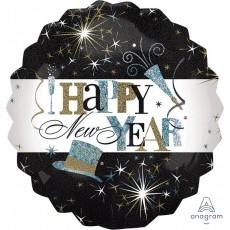 Round Jumbo Elegant Celebrate Happy New Year Foil Balloon 71cm
