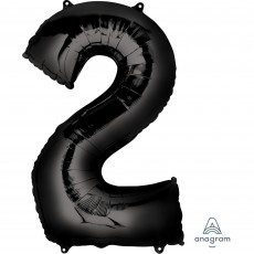 Number 2 Black Helium Saver Foil Balloon