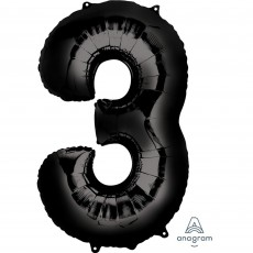Number 3 Black Helium Saver Foil Balloon