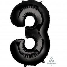 Number 3 Black SuperShape Shaped Balloon