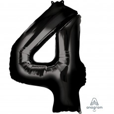 Number 4 Party Decorations - Shaped Balloon SuperShape Black 86cm