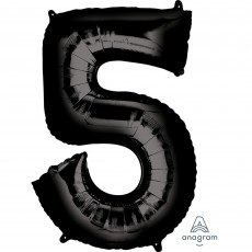 Number 5 Party Decorations - Shaped Balloon SuperShape Black 86cm