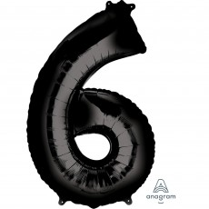Number 6 Black Helium Saver Foil Balloon
