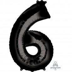 Number 6 Black SuperShape Shaped Balloon