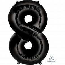 Number 8 Black Helium Saver Foil Balloon