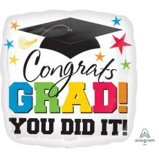 Round Graduation Standard HX Congrats Grad! You Did It! Foil Balloon 45cm
