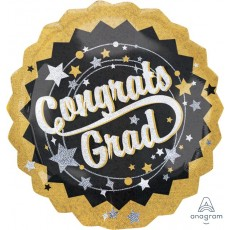Graduation Black, Silver & Gold Jumbo Holographic Shaped Balloon