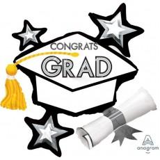 Graduation SuperShape XL White Cluster Hat Congrats Grad Shaped Balloon 79cm x 74cm