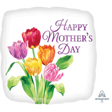 Square Standard HX Pretty Tulips Happy Mother's Day Shaped Balloon 45cm
