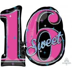 16th Birthday Sweet 16 Sparkle SuperShape Holographic Shaped Balloon