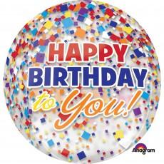 Happy Birthday Confetti Clear Shaped Balloon
