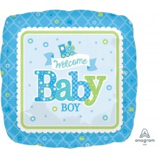 Square Baby Shower - General Standard HX Welcome Baby Boy Foil Balloon 45cm