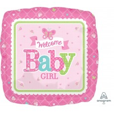 Square Baby Shower - General Standard HX Butterfly Welcome Baby Girl Foil Balloon 45cm