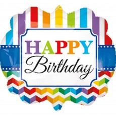 Chevron Design Happy Birthday Bright Foil Balloon