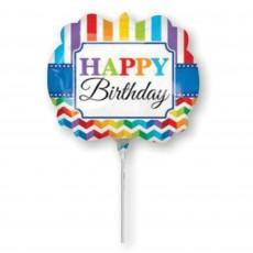 Multi Coloured Chevron Design Bright Stripe Mini Shaped Balloon