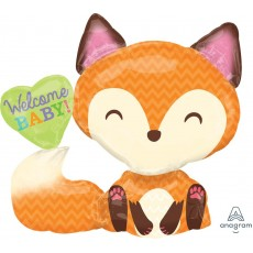 Baby Shower - General SuperShape XL Fox Welcome Baby! Shaped Balloon 71cm x 63cm