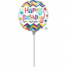 Round Chevron Design Happy Birthday! Foil Balloon 22cm