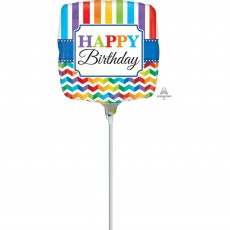 Chevron Design Multi Coloured Bright Stripe Foil Balloon