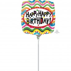 Happy Birthday Squiggles Foil Balloon