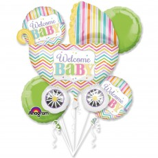 Baby Shower - General Bouquet Brights Welcome Baby Shaped Balloons Pack of 5
