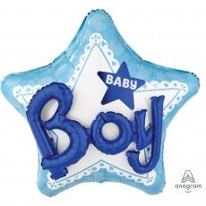 Star Baby Shower - General Multi-Balloon Celebrate Baby Boy Shaped Balloon 81cm