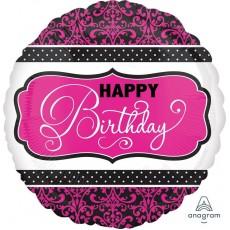 Happy Birthday Pink, Black & White Standard HX Foil Balloon
