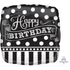 Chalkboard Black & White Standard HX Shaped Balloon
