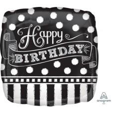 Chalkboard Party Decorations - Shaped Balloon Happy Birthday