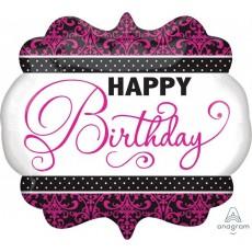 Pink, Black & White Fabulous Birthday SuperShape Happy Birthday Shaped Balloon 63cm x 55cm