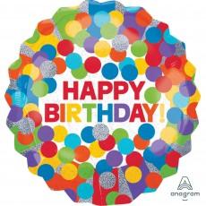 Round Primary Rainbow Colours Jumbo Holographic Happy Birthday Foil Balloon 71cm