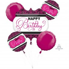 Happy Birthday Pink Damask Bouquet Foil Balloons