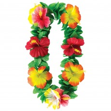 Key West Hibiscus Flowers & Leaf Lei Head Accessorie