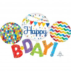 Dots & Stripes Multi-Balloon Happy B-Day! Shaped Balloon 142cm x 91cm