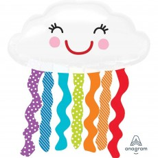 Rainbow SuperShape XL  Smiling Cloud Shaped Balloon