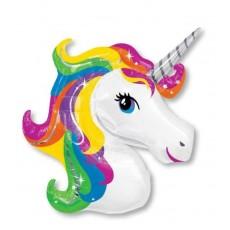 Unicorn Fantasy SuperShape Rainbow Unicorn Shaped Balloon